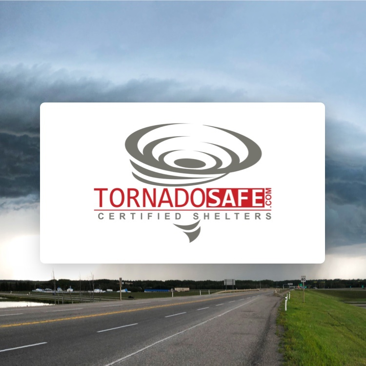 Tornado Safe logo with storm in background
